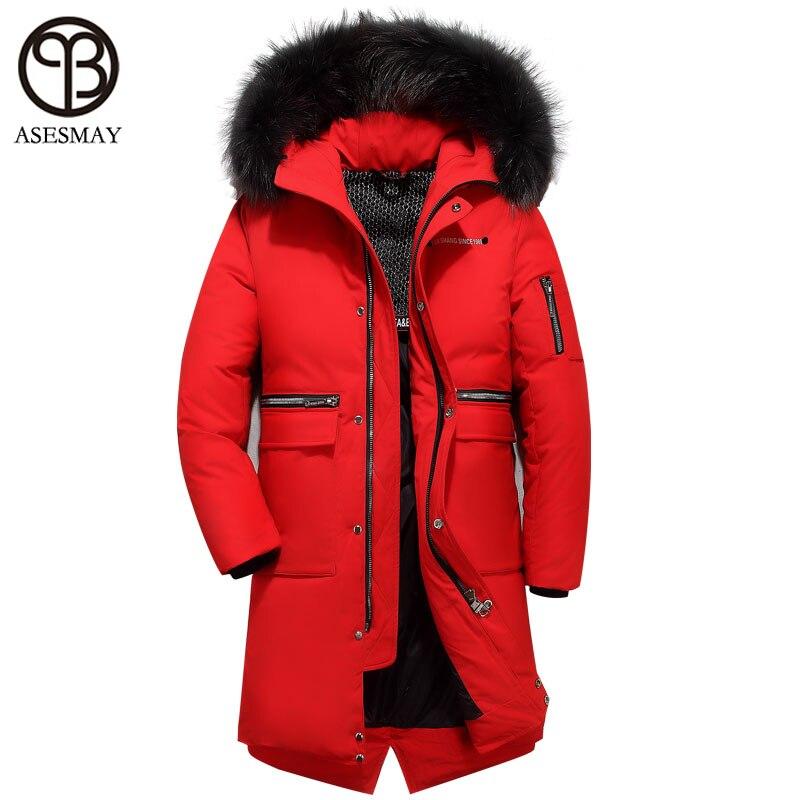Asesmay 2018 nouvelle arrivée marque vêtements hommes et femmes blanc duvet de canard veste épais hommes d'hiver manteau à capuche fourrure véritable amateurs parkas