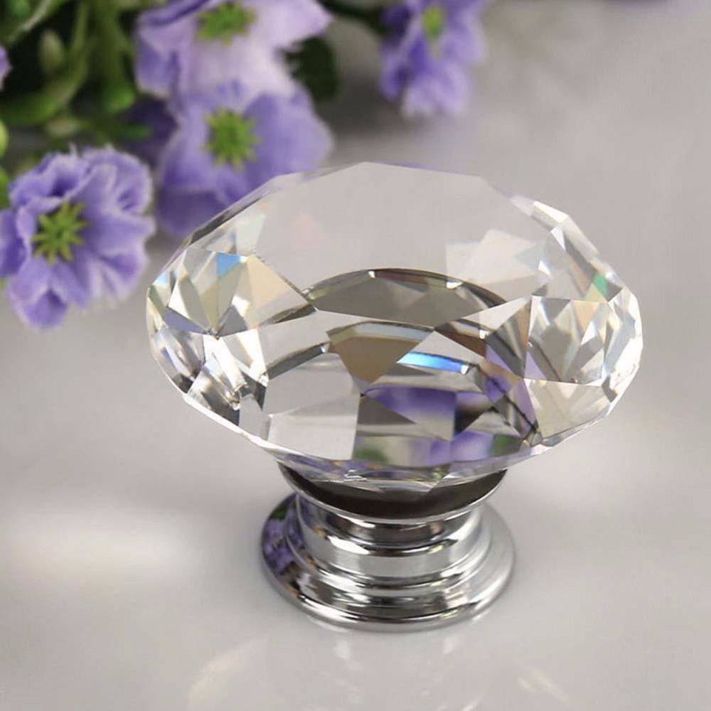 2016 New Diamond Clear Crystal Glass Door Pull Drawer Knob Handle Cabinet Furniture css clear crystal glass cabinet drawer door knobs handles 30mm