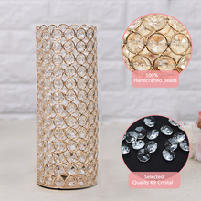 Gold Silver Crystal Cylinder Glass Vases