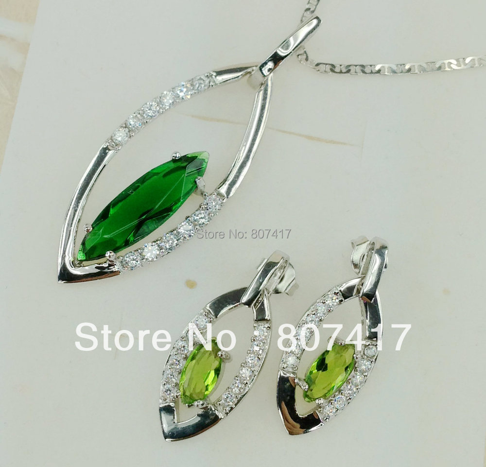 Shunxunze Treasurer Recommended Peridot Cubic Zirconia Clearance Silver  Plated Trendy Jewelry Heart Set (earring