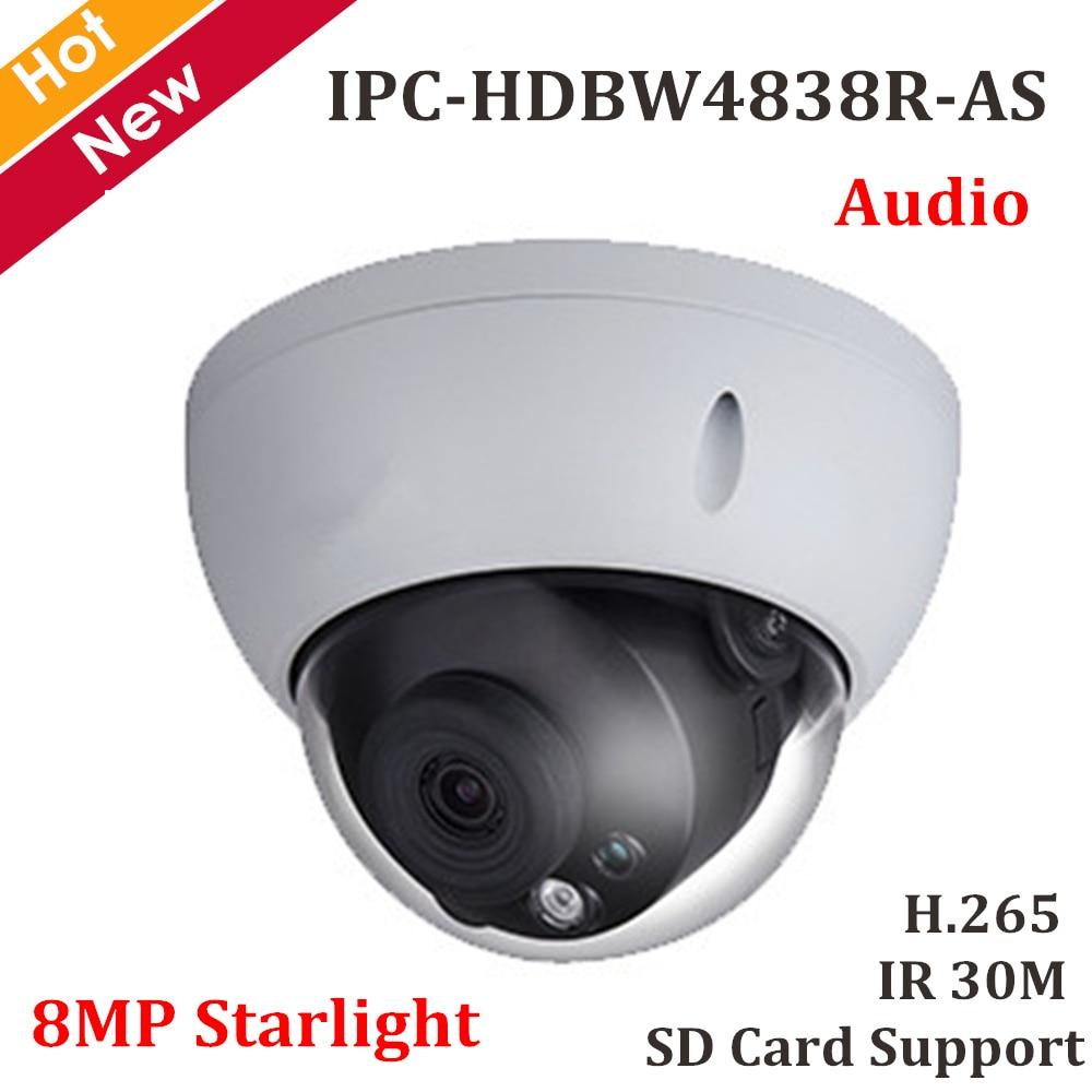 DH 8MP Starlight Dome câmera IP H.265 IP67 IPC-HDBW4838R-AS Segurança Câmera de Rede de Apoio Max 128g cartão Sd