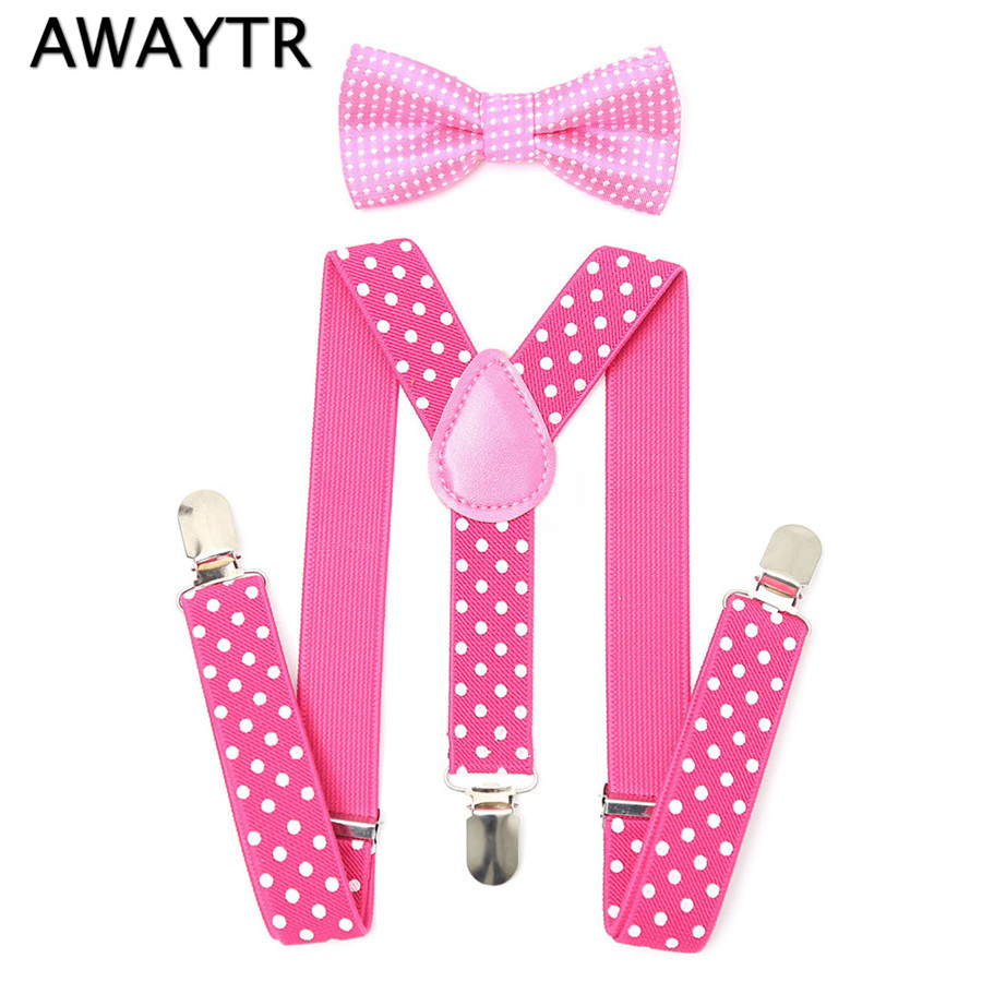 AWAYTR 2-6 Years Old Baby Kids Girls Pink Bow Tie Suspenders Set 2017 New Cool Dot Print Children Boys Rose Suspenders