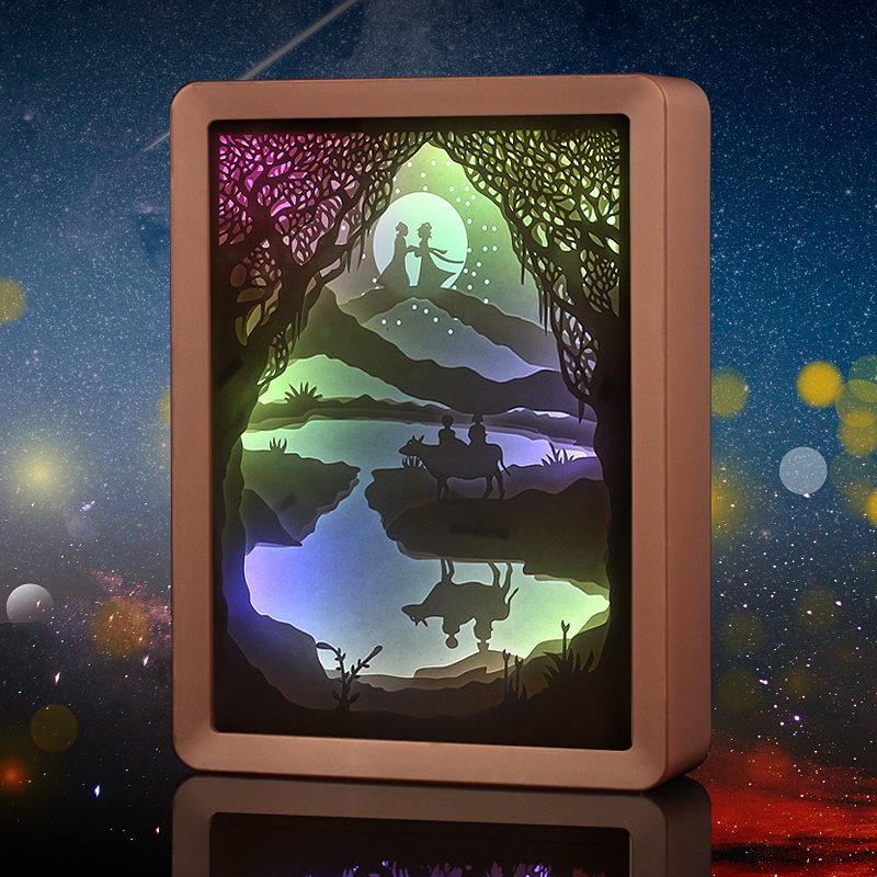 3D Paper Shadow Box Led Night Light Lamp Papercut Light Box Gift Frame