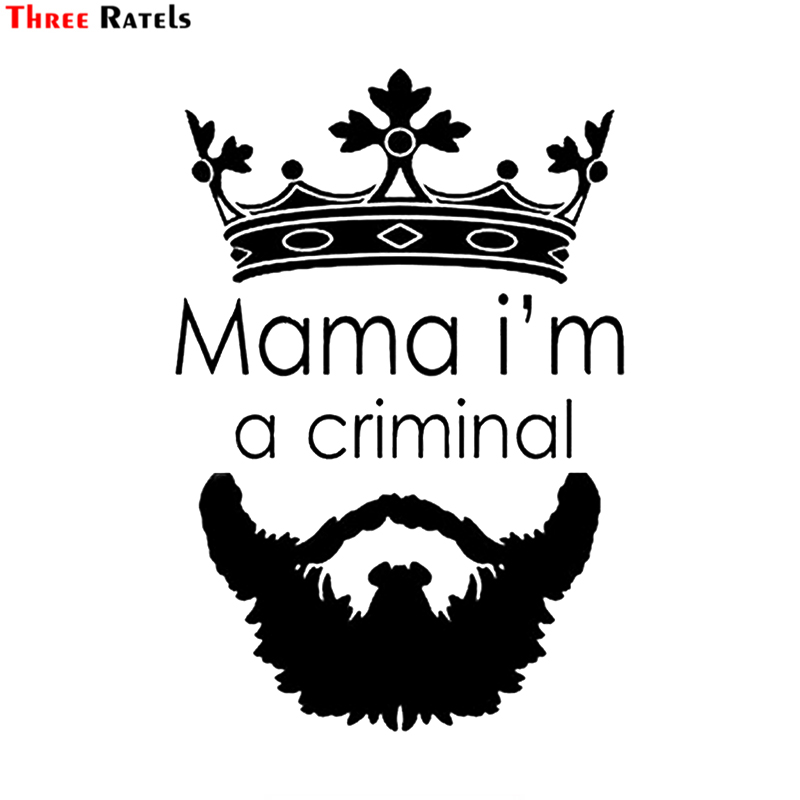 Three Ratels TZ-1979# 12x18cm Mama I'm A Criminal Car Sticker Funny Car Stickers Styling Removable Decal