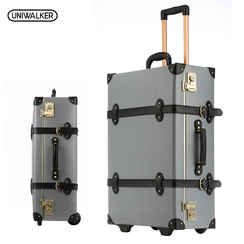 UNIWALKER 20 22 24 inches Gray Cow Leather Travel Trolley Luggage Waterproof Cowhide Suitcase Bag With TSA Lock 12 20 22 24 26 gray retro trolley suitcase bags 2pcs set vintage travel trolley luggage with spinner wheels with tsa lock