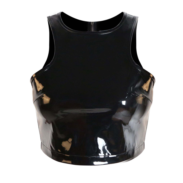 f6e2042ac7a6a5 2018 New Style Women Summer Tops Solid Wetlook Steampunk Sleeveless Latex  Tank Top Zipper Back Design Stylish Crop Top