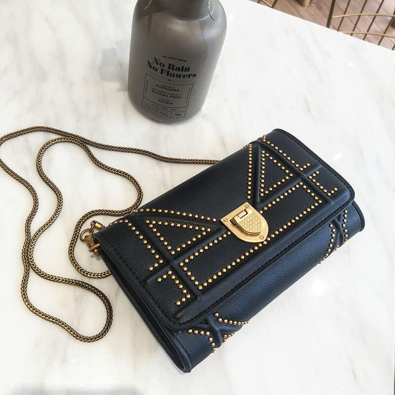 2018New заклепки цепи небольшой площади сумка дикий многослойная клатч кошелек мини плеча сумка маленькая сумка тенденции моды дикий