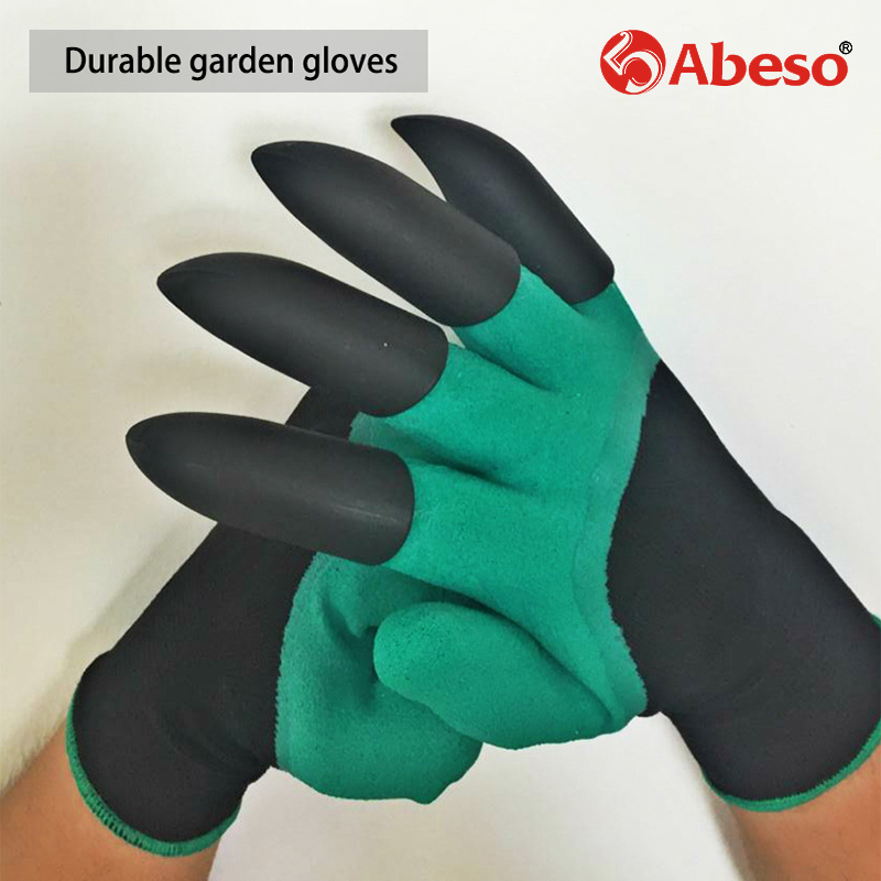 Abeso latex garden gloves with 4 ABS Plastic Claws for garden Digging Planting working protective 1 pair Drop A4006 scheppach green garden digging gloves with 4 abs plastic claws for garden digging planting 1 pair garden digging gloves tools