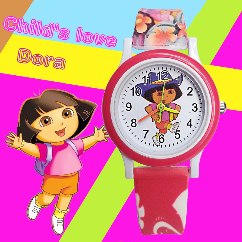 Lovely Dora Princess Children Watch Girl With School Bag Goes To School Students Clock Kids Electronic Watches Child Girls Gift