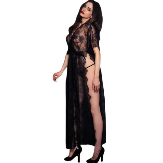 Women Black Sheer Lace Dresses Kaftan Robe with Thong Novelty Tempetation  Sexy Hollow Out Long Gown Night Midi Dress SA60683 e4a369f55