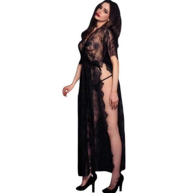 Women Black Sheer Lace Dresses Kaftan Robe With Thong Novelty