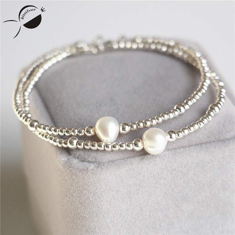 S925 Sterling Silver Bracelets Women Freshwater Pearls Beads Nearround Rope Chain Bangle Jewelry Silver Bracelets Bangles Female in Bracelets Bangles from Jewelry Accessories