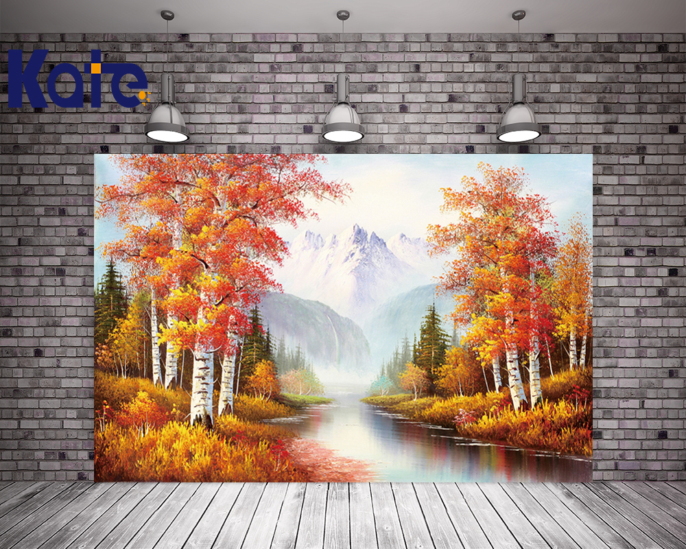 Kate Abstract Birch Autumn Photography Backdrops Autumn Backgrounds For Photo Studio With Creek Mountains Photo Backdrops