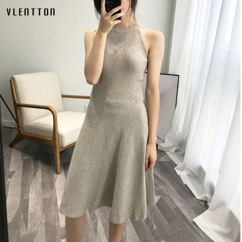 Hanging neck sexy dress Spring summer 2019 new fashion Sleeveless Tank A Line Knee Length bodycon dress Casual women 39 s dresses in Dresses from Women 39 s Clothing