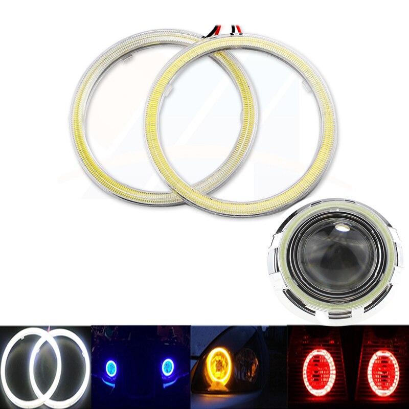 2x Super Bright Halo Rings COB LED Angel Eyes Headlight 60mm 70mm 80mm 90mm 100mm 110mm 120mm Car Motorcycle DRL Light Bulb Lamp