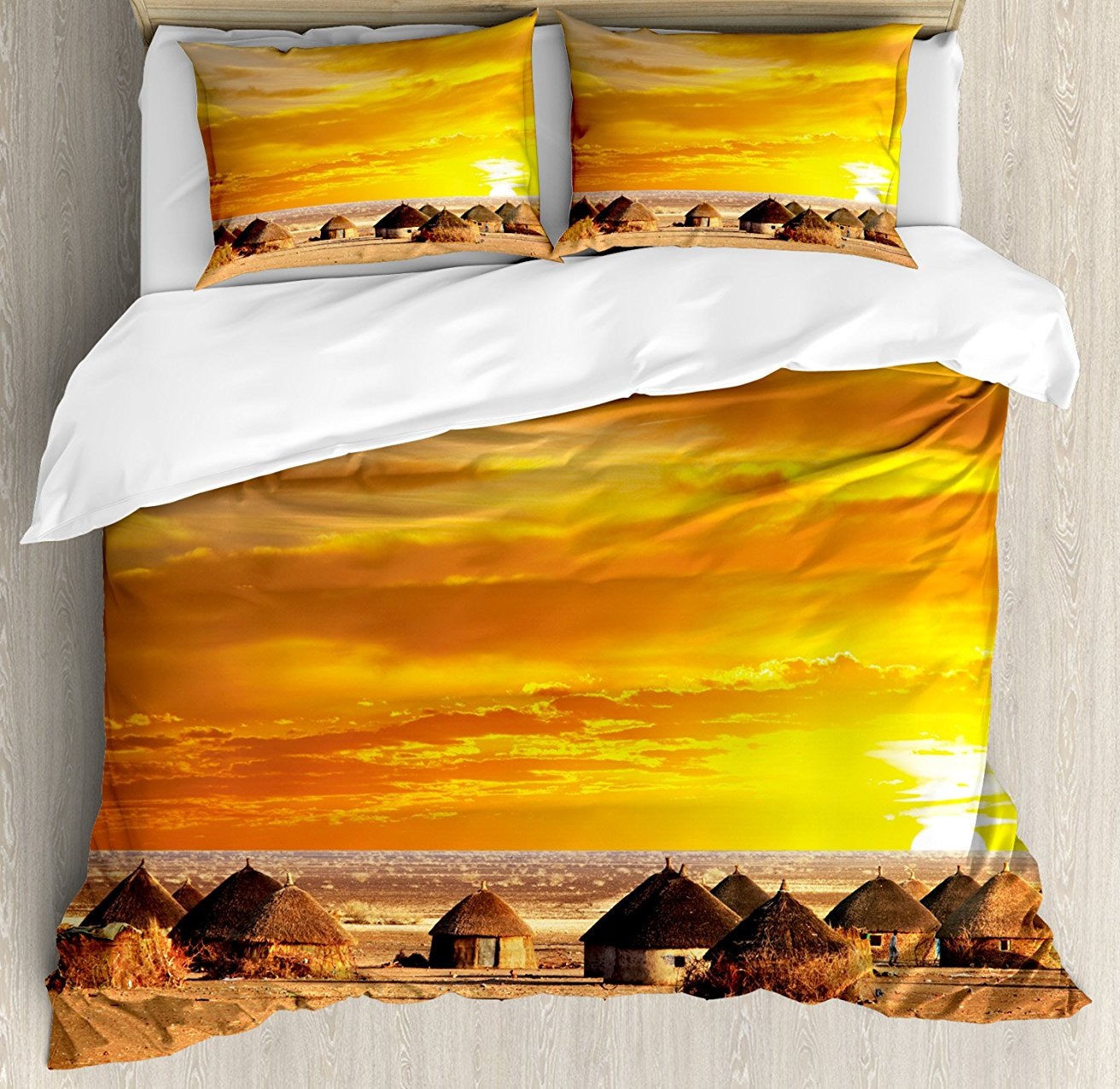 African Duvet Cover Set African Landscape of a Small Town with Horizon Skyline at Dawn Ethiopian Photography 4 Piece Bedding SetAfrican Duvet Cover Set African Landscape of a Small Town with Horizon Skyline at Dawn Ethiopian Photography 4 Piece Bedding Set