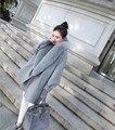 Abrigos femeninos Más El Tamaño de Cuello de Piel de Invierno Cálido Abrigo de Lana de Las Mujeres de Alta Calidad Da Vuelta-Abajo Abrigo de Lana Floja manto Abrigo