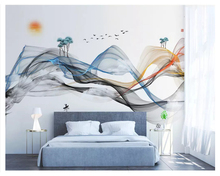 beibehang New Chinese style hand-painted fashion 3d wallpaper abstract lines ink landscape elk background wall papers home decor все цены