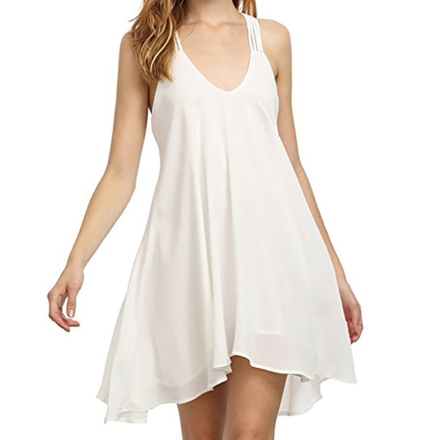 Women Ladies Mini Dress Style Sleeveless Cascading Ruffle Dress Solid Casual Chiffon V-neck Swing Party Dress Sexy Dress
