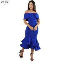 Zkess Women Bow Cape Off Shoulder Mermaid Dress Ruffles Layered Elegant Formal Party Bodycon Dresses Back