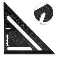Regla triangular de 7 pulgadas de aleación de aluminio regla angular de 90/45 grados transportador para constructores domésticos/artistas de bricolaje/herramientas de medición