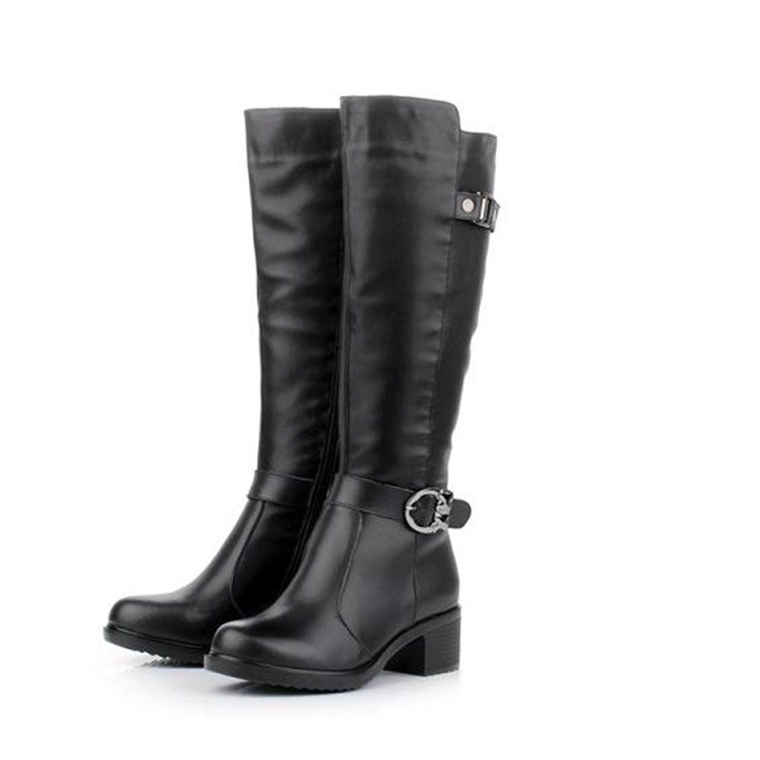 2017 Fashion women boots PU Leather Knee High Boot Women Round Toe Elastic Vintage Thick Heel Thigh High Riding Boots Size 40 2015 hottest drop shipping vintage round toe strappy zip knee high boots studs chunky heel leather boots women high heels j459