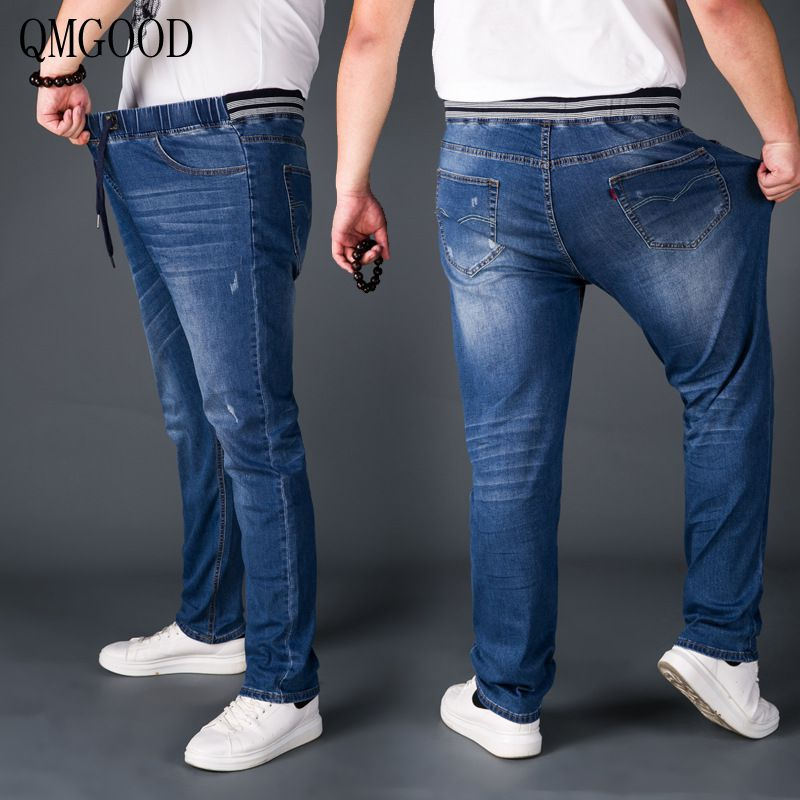 QMGOOD Men's Jeans Spring and Summer New Elastic Elastic Waist Big Size Fat Large Loose Lace Straight Men's Jeans Men's Trousers