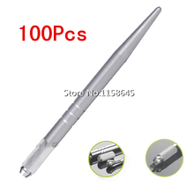 100Pcs Silver Brand Alloy Professional Permanent Makeup Manual Pen 3D Eyebrow Embroidery Handmade Tattoo MicroBlading Pen