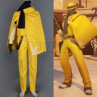 Custom Made Game OW Jesse McCree Yellow Suit With Hat And Gloves Cosplay Costume