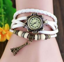 promotion price vintage Eiffel Tower fashion top brand luxury quartz watch women genuine cow leather beads bracelet wrist watch