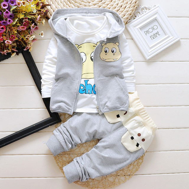 2016 Nuevo Bebé Ropa de Algodón Ropa de Los Niños Dulces de $ number pedazos fijados Niños Chicas Les Encanta Dormir ropa de Dormir Pijamas de Dibujos Animados Traje