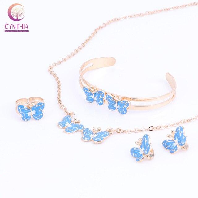 Gold Color Enamel Erfly Necklace Bangle Bracelet Ring Set For Children Kids Costume Jewelry Sets 8color