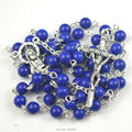 Blue natural stone round bead rosary with papa cross