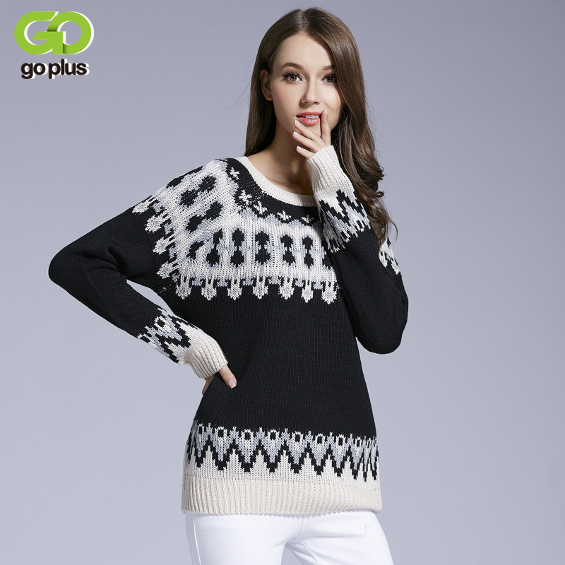 GOPLUS New O Neck Loose Warm Sweaters Knitted Christmas Jesus Geometric Pullovers Women Autumn Winter Tops C4771