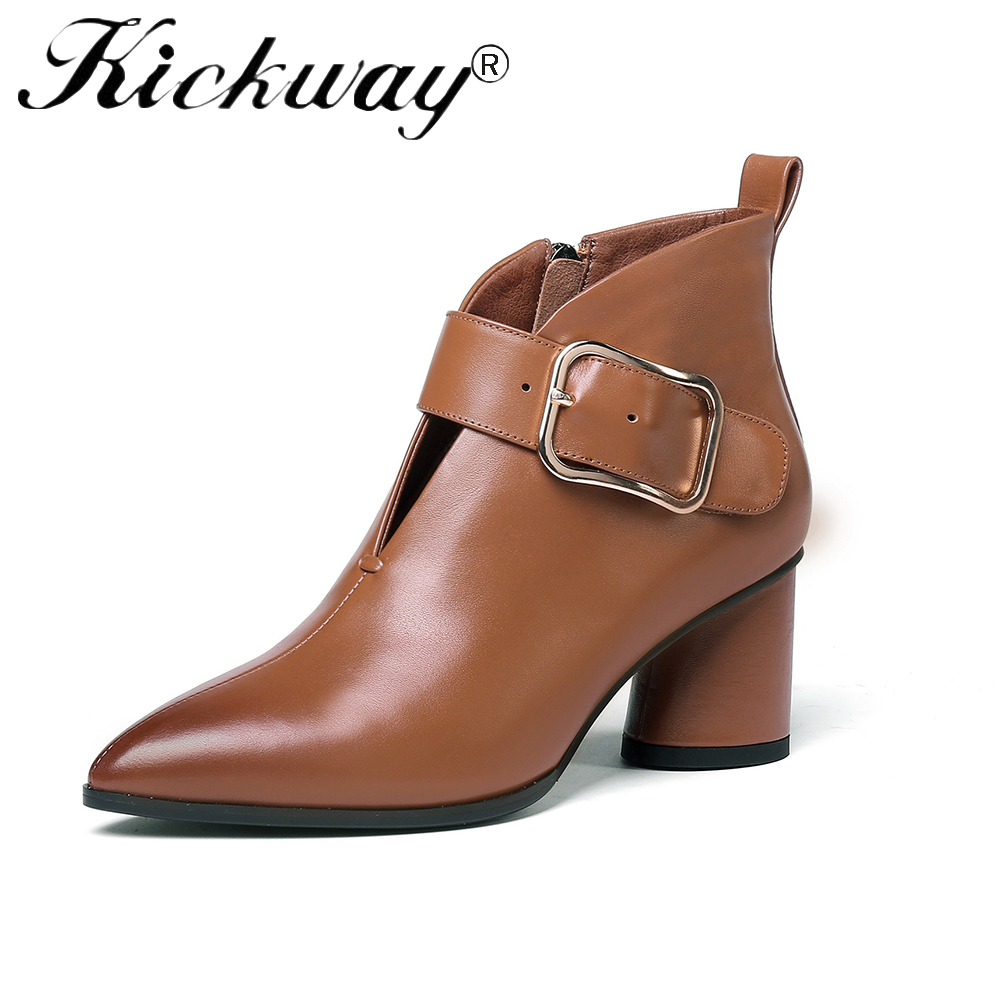 Kickway Plus Size 34-42 Genuine Leather Shoes Women Ankle Boots Autumn Thick High Heel Martin Boots Zip Winter Buckle Boots whitesun plus size boots women martin boots autumn winter shoes female ankle boots buckle retro style chunky heel short boots