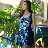 Free Shipping 2014 New Brand Hot Spring Swim Suit Dress One Piece Skirted Bathing Suits Plus