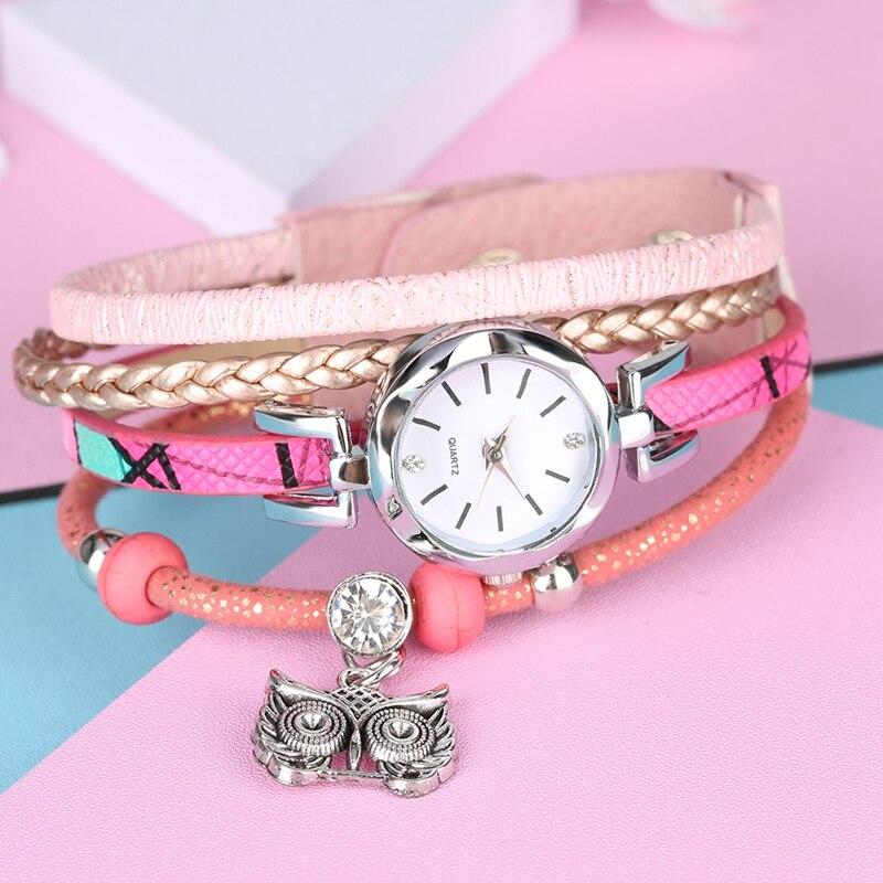 Women's Owl Pendant Circle Winding Bracelet Watch Multilayer Leather Bracelets Bead Chain Jewelry Watch Top Gifts for Girlfriend