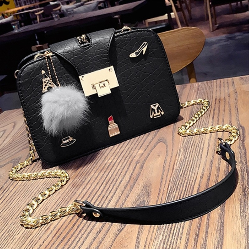 ФОТО 2017 New Vintage Flap Chain Character Sequined Lock Button Crossbody Bags for Women Messenger Bags Handbags Women Famous Brands