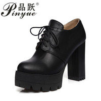 Fashion Women Shoes High Heels Sewing Round Toe Platform Shoes For Party Outerwear Lacing Ladies Pumps 2018 New Spring3.333