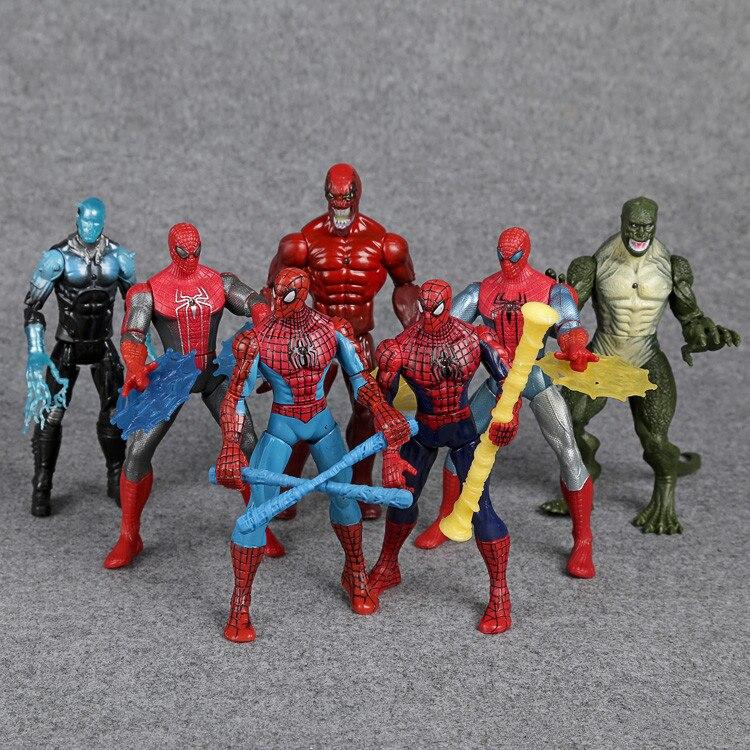 Spiderman Toys The <font><b>Amazing</b></font> <font><b>Spider-man</b></font> Venom The <font><b>Lizard</b></font> PVC <font><b>Action</b></font> <font><b>Figures</b></font> 16cm 7pcs/set packed in bag KC038
