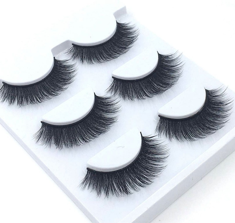 3pairs 100% handmade real mink fur false eyelash 3D strip mink lashes thick fake faux eyelashes Makeup beauty False Eyelashes 13