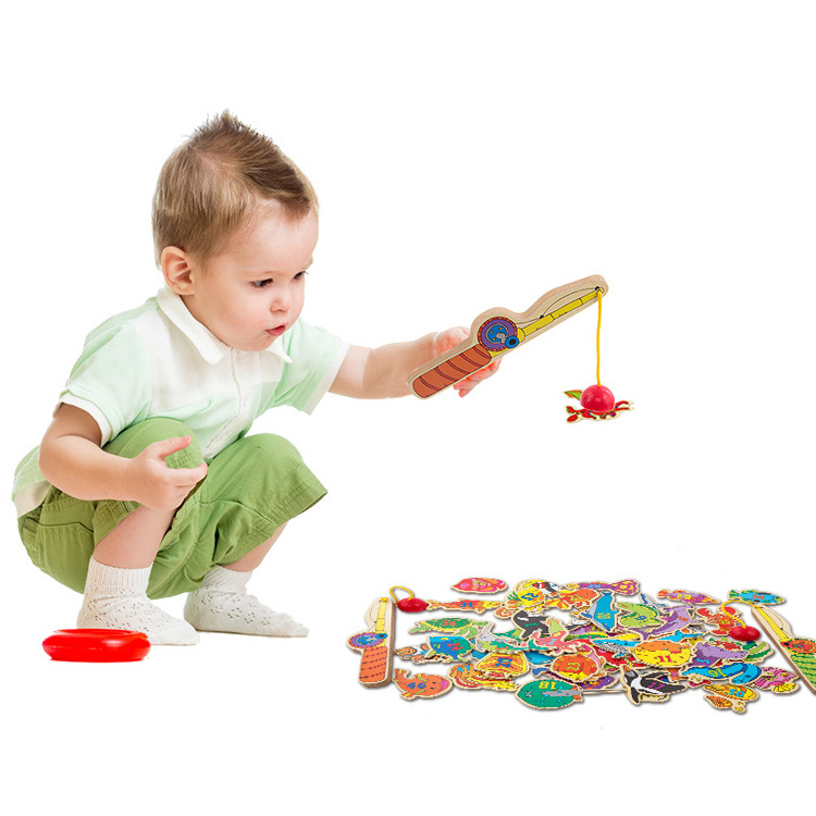 Children's Magnetic Alphanumeric Puzzle Fishing Wooden Ocean Family Fishing Game Baby Early Education Puzzle Toys twister family board game that ties you up in knots