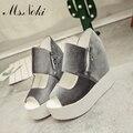Г-жа Noki Летом 2017 Стая Почтовый платформа Клин женская обувь Peep toe туфли на платформе с удобными для девочек горячий продавать обувь