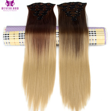 Neverland 8#/25# 30#/25# Ombre Synthetic Hairpieces 24″ 16Clips Full Head Straight Heat Resistant Clip-in Hair Extensions