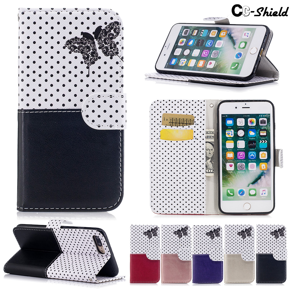 butterfly Flip Case for Apple iPhone 7 Plus 5.5 inch Wallet card slot Case Phone Leather Cover for i Phone 7plus iPhone7plus