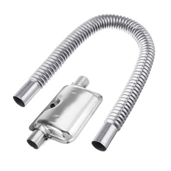 60cm Stainless Steel Car Exhaust Pipe Gas Vent Hose 24mm Portable Car Pipe Silencer Exhaust Muffler Auto Gas Vent Hose Accessory