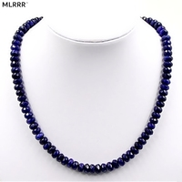 Vintage Classic Natural Stone Jewelry Elegant Noble Sapphire Gems Beaded Chain Choker Necklace 47cm