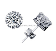 8MM plated Solid White Gold CZ/Cubic Zirconia Antique Crown Back Stud Earrings
