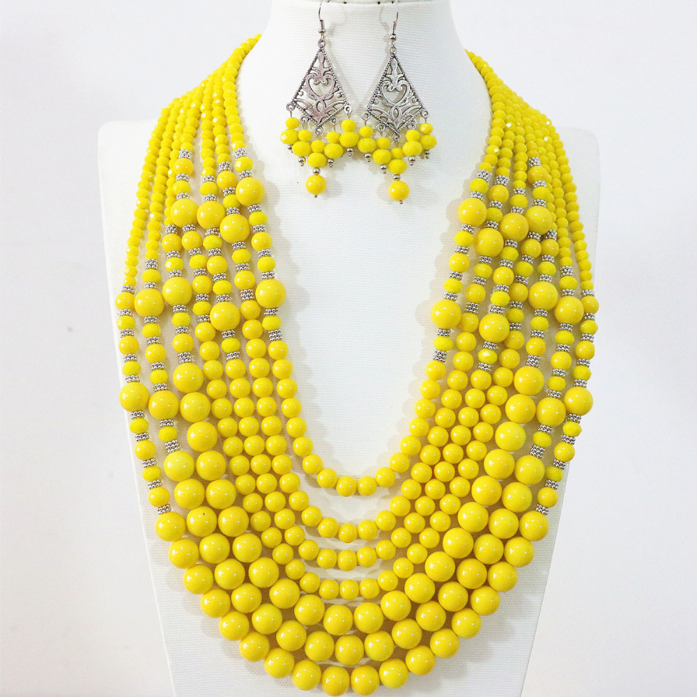 Hot yellow lemon 7 rows necklace earrings round shell simulated-pearl crystal ababcus beads handmade jewelry set B1297