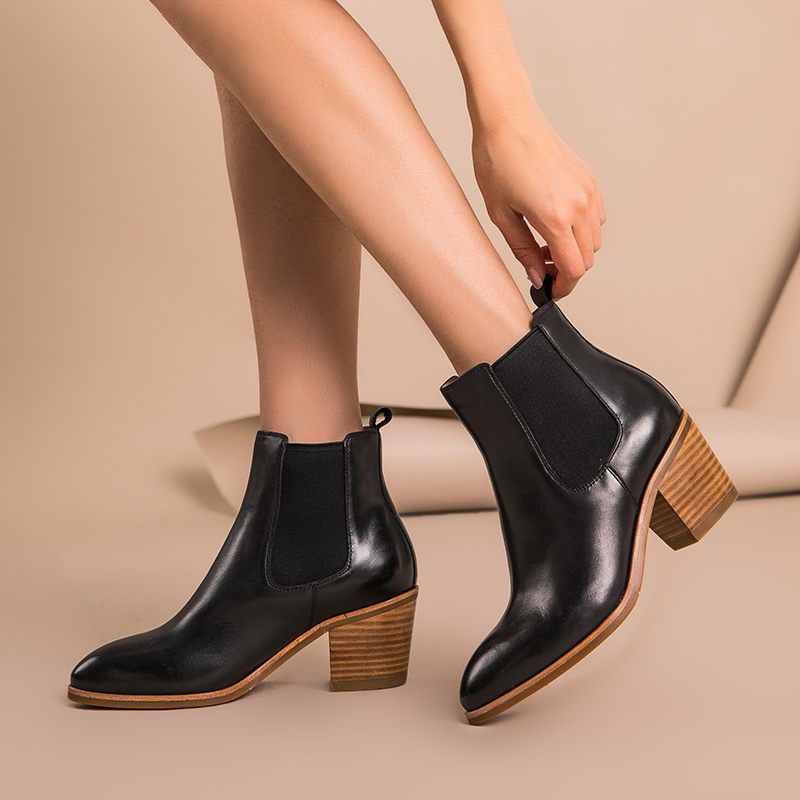 30dd0bf49af BeauToday Women Chelsea Boot Genuine Waxing Cow Leather Pointed Toe Elastic  Band High Heel Autumn Winter Lady Ankle Boots 03335